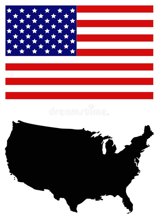 ΑΜΕΡΙΚΑΝΙΚΟΙ χάρτης και σημαία - ομοσπονδιακή δημοκρατία στη Βόρεια Αμερική ελεύθερη απεικόνιση δικαιώματος