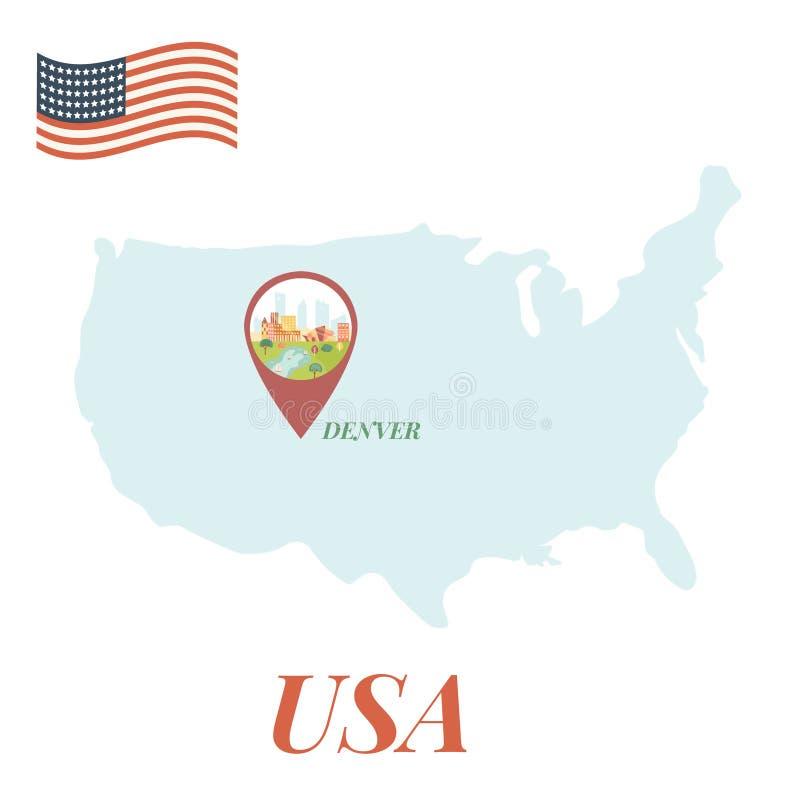 ΑΜΕΡΙΚΑΝΙΚΟΣ χάρτης με την έννοια ταξιδιού καρφιτσών του Ντένβερ απεικόνιση αποθεμάτων