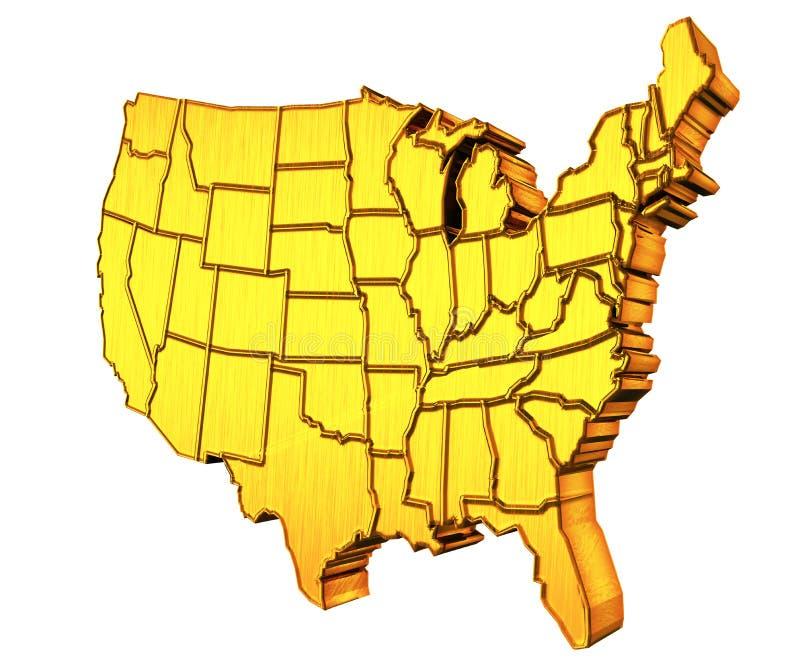 ΑΜΕΡΙΚΑΝΙΚΟΣ χρυσός χάρτης τρισδιάστατος απεικόνιση αποθεμάτων