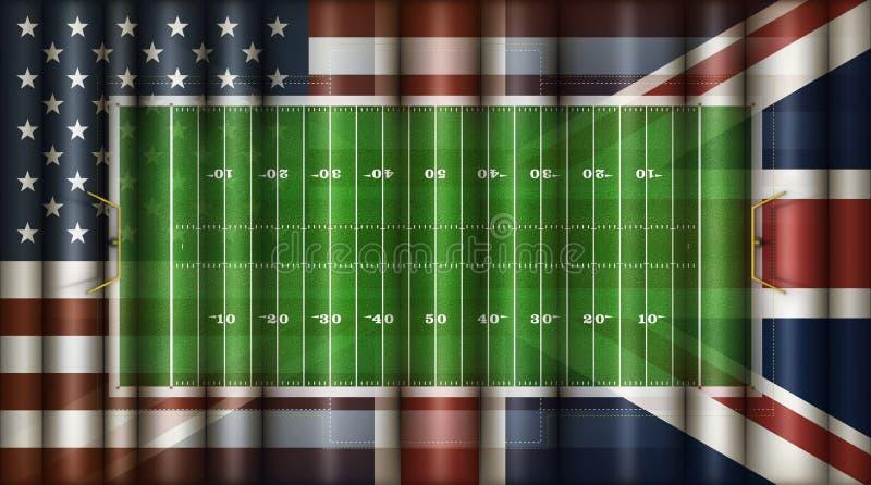Αμερικανικού ποδοσφαίρου τομέων, των Ηνωμένων Πολιτειών & «τρισδιάστατη απεικόνιση βρετανικό συνδυασμένο σημαίες †ελεύθερη απεικόνιση δικαιώματος