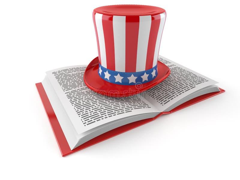 ΑΜΕΡΙΚΑΝΙΚΟ καπέλο στο ανοικτό βιβλίο διανυσματική απεικόνιση