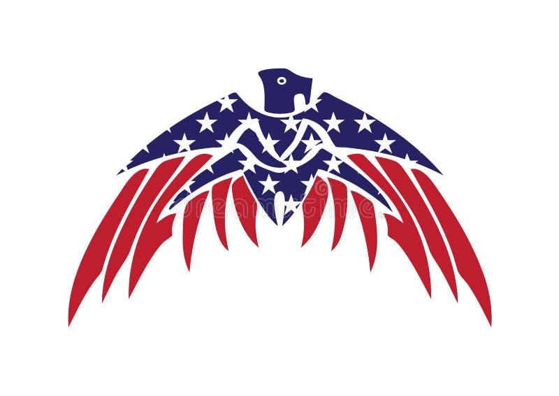 ΑΜΕΡΙΚΑΝΙΚΩΝ σημαιών πατριωτικό διανυσματικό λογότυπο γερακιών αετών φαλακρό διανυσματική απεικόνιση