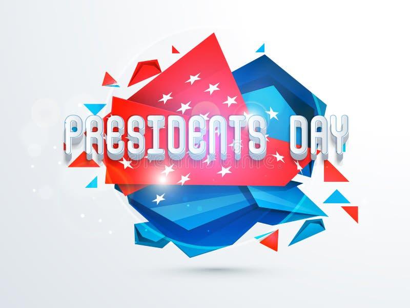Αμερικανικός εορτασμός Προέδρων Day με το τρισδιάστατο κείμενο ελεύθερη απεικόνιση δικαιώματος