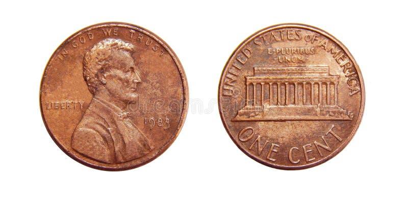 Αμερικανικός νόμισμα σεντ που απομονώνεται στο άσπρο υπόβαθρο στοκ εικόνες