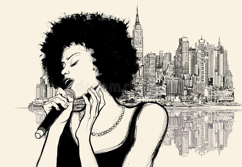 Αμερικανικός τραγουδιστής τζαζ Afro διανυσματική απεικόνιση