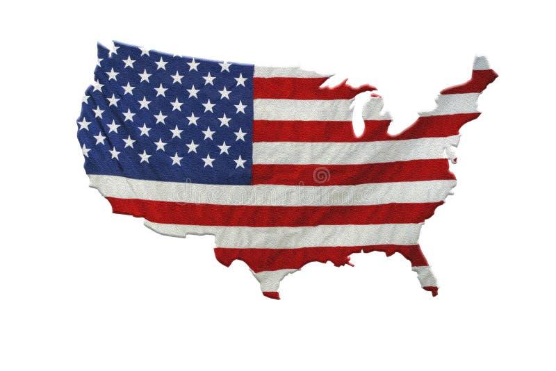 Αμερικανικός χάρτης και αμερικανική σημαία ελεύθερη απεικόνιση δικαιώματος