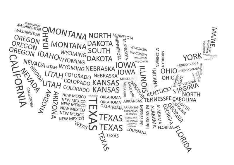 Αμερικανικός χάρτης με τα κρατικά ονόματα διανυσματική απεικόνιση