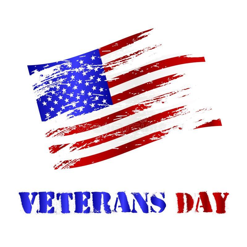 Αμερικανικός χαλασμένος εορτασμός eps10 σημαιών και ημέρας παλαιμάχων ελεύθερη απεικόνιση δικαιώματος