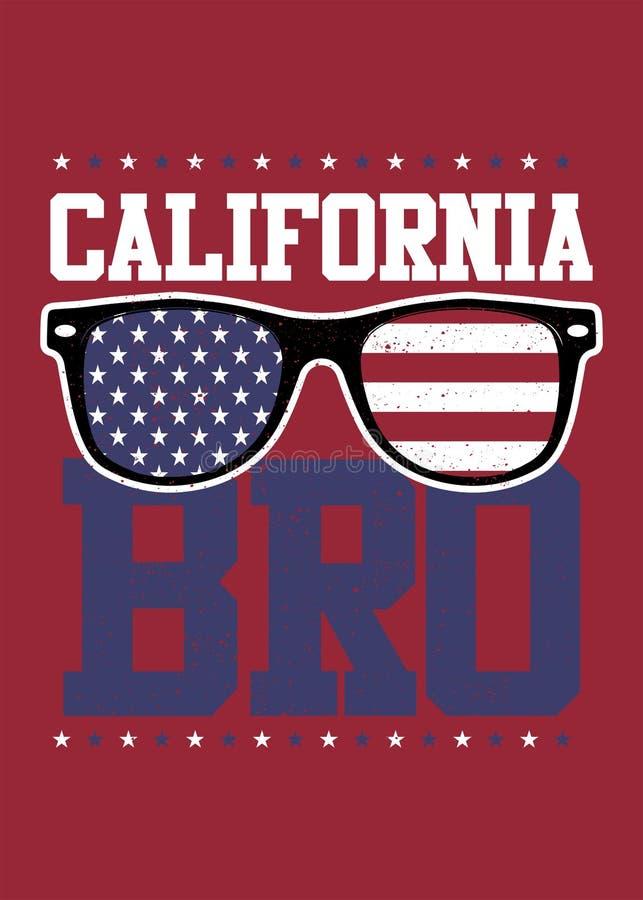 Αμερικανικό έδαφος γυαλιών bro Καλιφόρνιας της ελευθερίας 4ο στενοχωρημένης της Ιούλιος σημαίας ελεύθερη απεικόνιση δικαιώματος