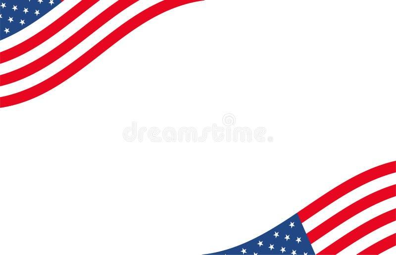 Αμερικανικό έμβλημα Υπόβαθρο ΑΜΕΡΙΚΑΝΙΚΩΝ συνόρων με το μοτίβο σημαιών κυματισμού Δυναμικό σχέδιο έννοιας κινήσεων διανυσματική απεικόνιση