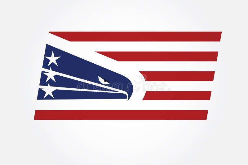 Αμερικανικό ΑΜΕΡΙΚΑΝΙΚΟ λογότυπο σημαιών αετών ελεύθερη απεικόνιση δικαιώματος
