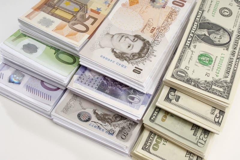 Αμερικανικό, βρετανικό και ευρο- νόμισμα εγγράφου στοκ φωτογραφία με δικαίωμα ελεύθερης χρήσης