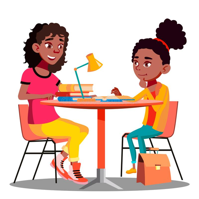Αμερικανικό διάνυσμα σχολικής εργασίας βοηθειών μητέρων Afro Child Do απομονωμένη ωθώντας s κουμπιών γυναίκα έναρξης χεριών απεικ απεικόνιση αποθεμάτων