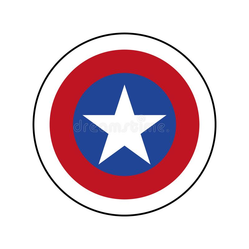 Αμερικανικό διακριτικό πατριωτών με το άσπρο αστέρι Ασπίδα καπετάνιου America με το αστέρι διανυσματικό eps10 απεικόνιση αποθεμάτων