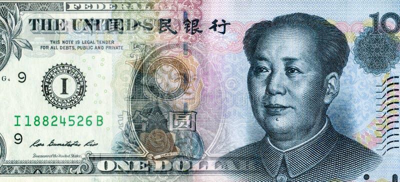 Αμερικανικό δολάριο ομαλά σε Κινέζους yuan στοκ φωτογραφία