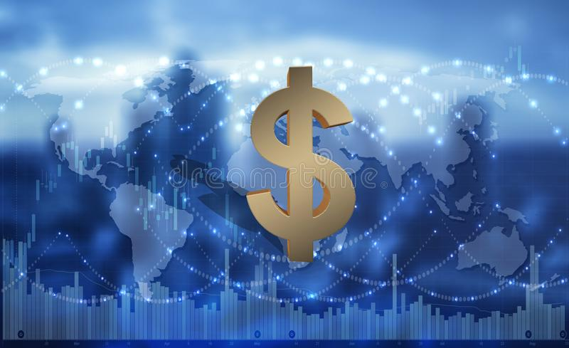 Αμερικανικό δολάριο ως σφαιρικό τρόπο πληρωμής, τρισδιάστατη απεικόνιση ελεύθερη απεικόνιση δικαιώματος