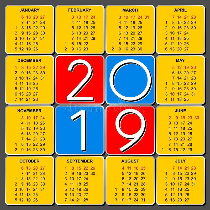 Αμερικανικό ημερολογιακό πλέγμα για το 2019 διανυσματική απεικόνιση