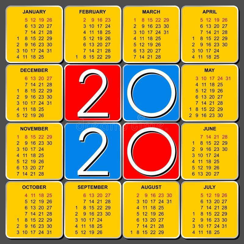 Αμερικανικό ημερολογιακό πλέγμα για το 2020 διανυσματική απεικόνιση