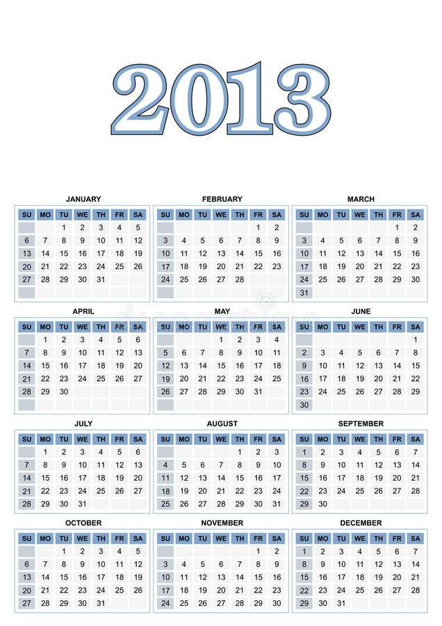 Αμερικανικό ημερολόγιο διανυσματική απεικόνιση
