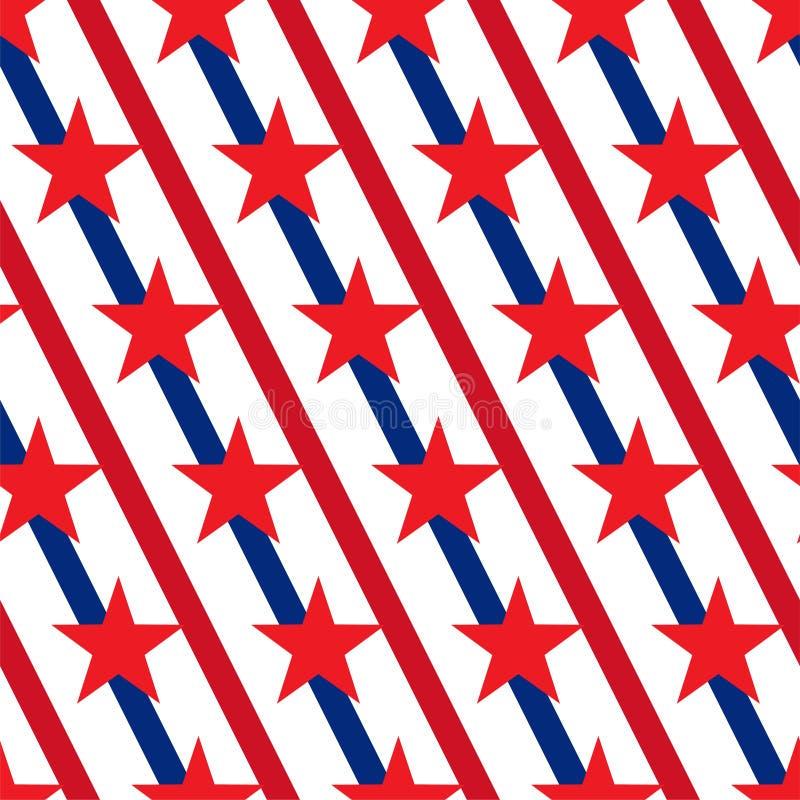 Αμερικανικό διάνυσμα σχεδίων αστεριών και λωρίδων άνευ ραφής διανυσματική απεικόνιση