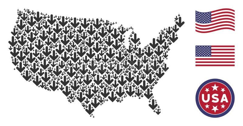 Αμερικανικό κολάζ χαρτών του βέλους κάτω απεικόνιση αποθεμάτων