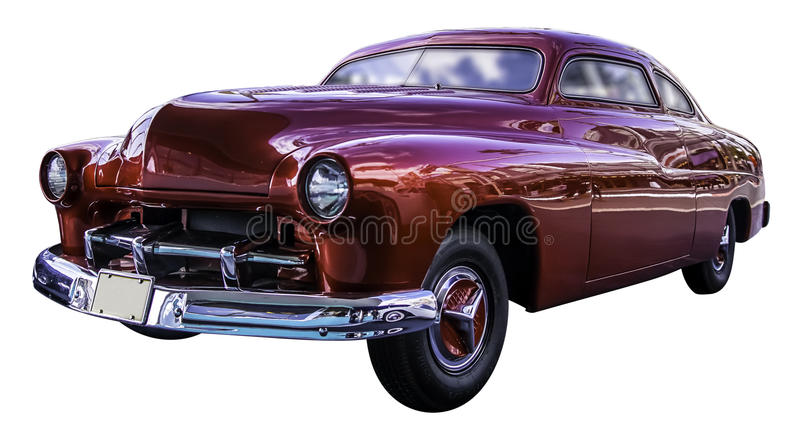 Αμερικανικό κόκκινο κλασικό αυτοκίνητο που απομονώνεται στο άσπρο υπόβαθρο με το workp στοκ εικόνες