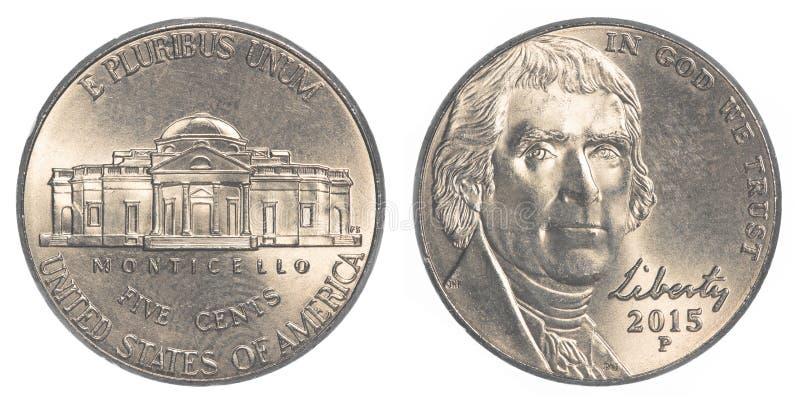 Αμερικανικό νικέλιο του Jefferson νομισμάτων πέντε σεντ στοκ φωτογραφίες