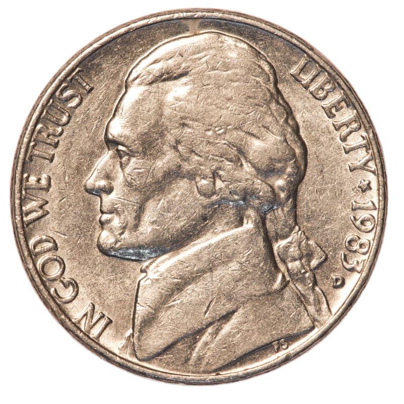 Αμερικανικό νόμισμα πέντε σεντ στοκ εικόνα