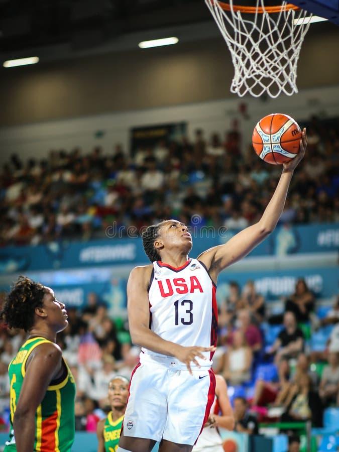 Αμερικανικό παίχτης μπάσκετ στη δράση κατά τη διάρκεια του Παγκόσμιου Κυπέλλου 2018 καλαθοσφαίρισης στοκ εικόνα με δικαίωμα ελεύθερης χρήσης