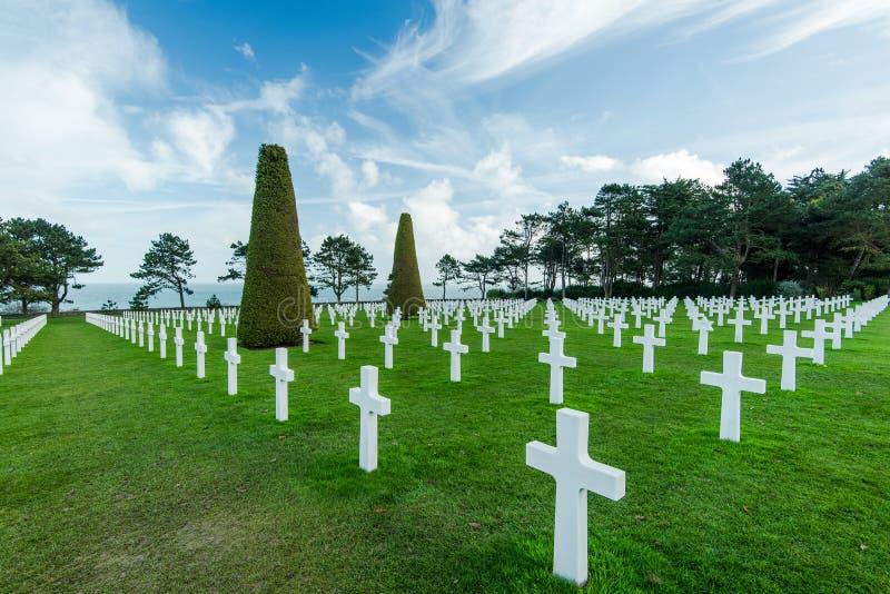 Αμερικανικό πολεμικό νεκροταφείο κοντά στην παραλία της Ομάχα, Νορμανδία Colleville στοκ φωτογραφία με δικαίωμα ελεύθερης χρήσης