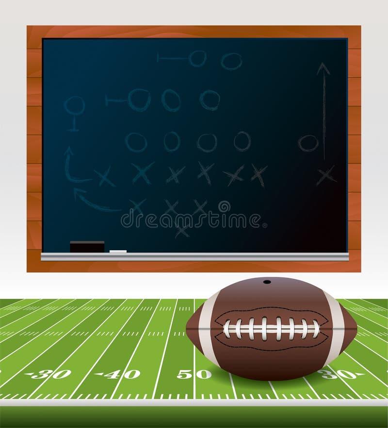 Αμερικανικό ποδόσφαιρο στον τομέα με τον πίνακα κιμωλίας απεικόνιση αποθεμάτων