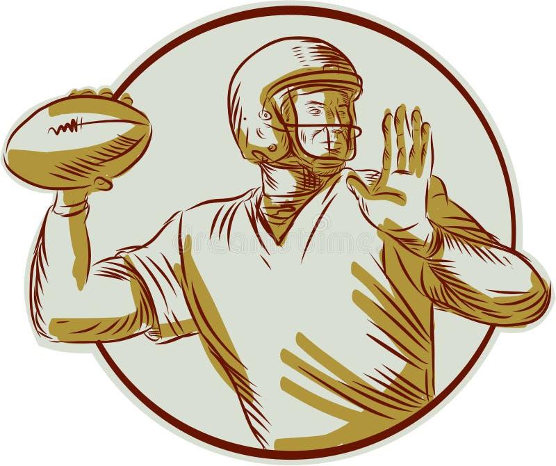 Αμερικανικό ποδόσφαιρο QB που ρίχνει τον κύκλο δευτερεύουσα χαρακτική απεικόνιση αποθεμάτων