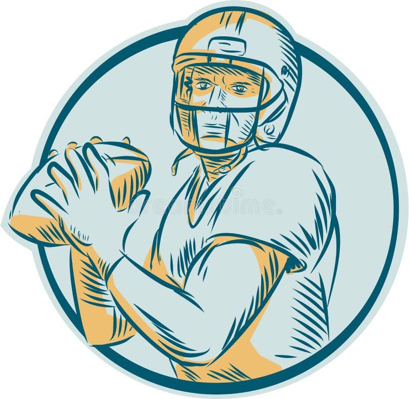 Αμερικανικό ποδόσφαιρο QB που ρίχνει τον κύκλο χαρακτική διανυσματική απεικόνιση