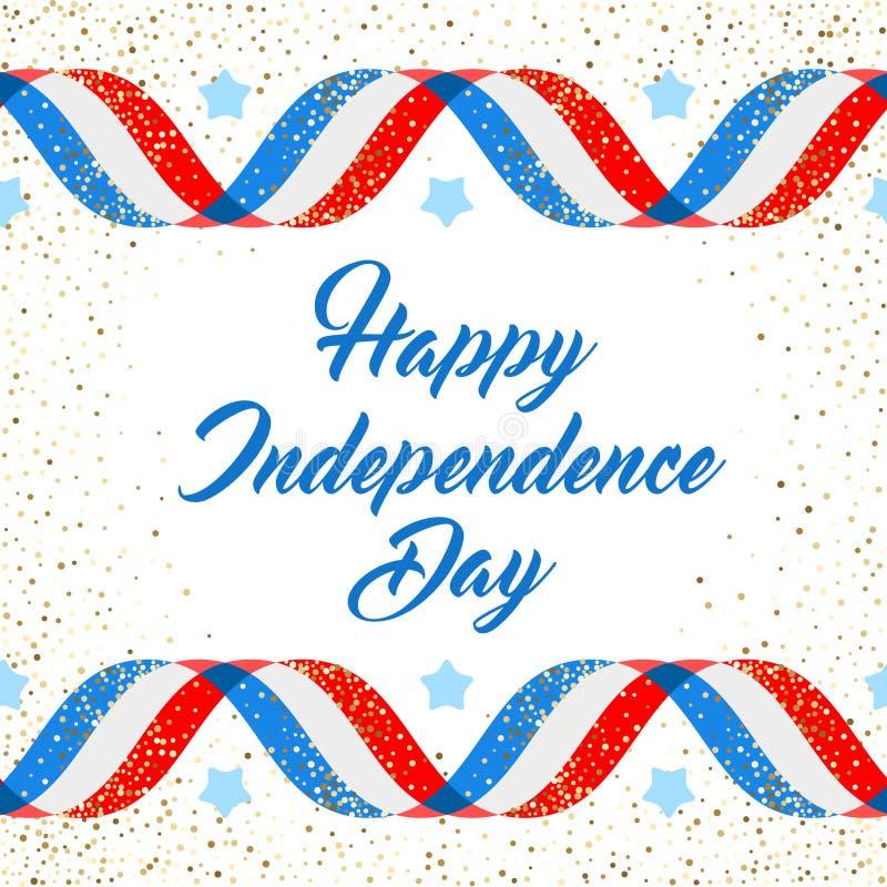 Αμερικανικό πρότυπο αφισών ημέρας της ανεξαρτησίας, στις 4 Ιουλίου υπόβαθρο Οι σημαίες κορδελλών και ακτινοβολούν διανυσματική απεικόνιση
