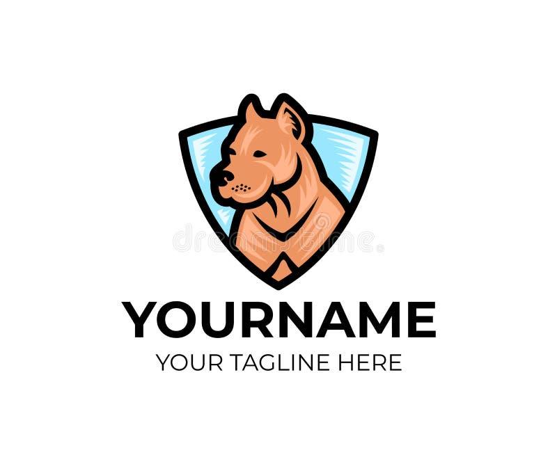 Αμερικανικό σκυλί τεριέ πίτμπουλ στην ασπίδα, πρότυπο λογότυπων Pet και κτηνιατρικός, λέσχη των εραστών σκυλιών, διανυσματικό σχέ απεικόνιση αποθεμάτων
