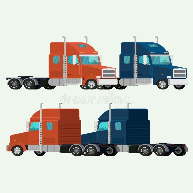 Αμερικανικό στέλνοντας φορτίο παράδοσης εμπορευματοκιβωτίων φορτηγών απεικόνιση διανυσματική απεικόνιση