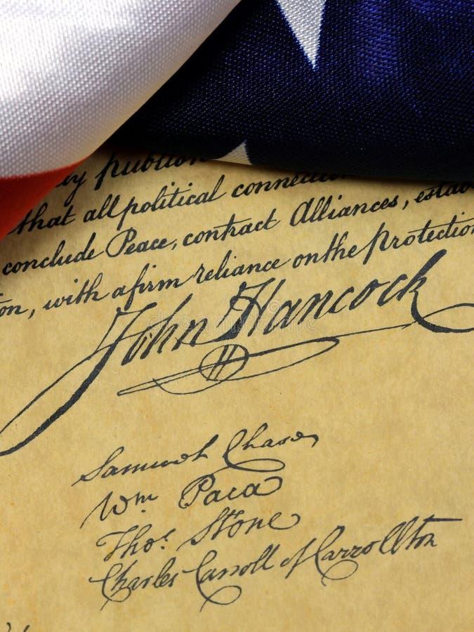 Αμερικανικό σύνταγμα υπογραφών του John Hancock στοκ εικόνες