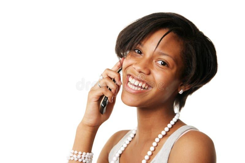 αμερικανικό arfican τηλέφωνο κοριτσιών στοκ εικόνες με δικαίωμα ελεύθερης χρήσης