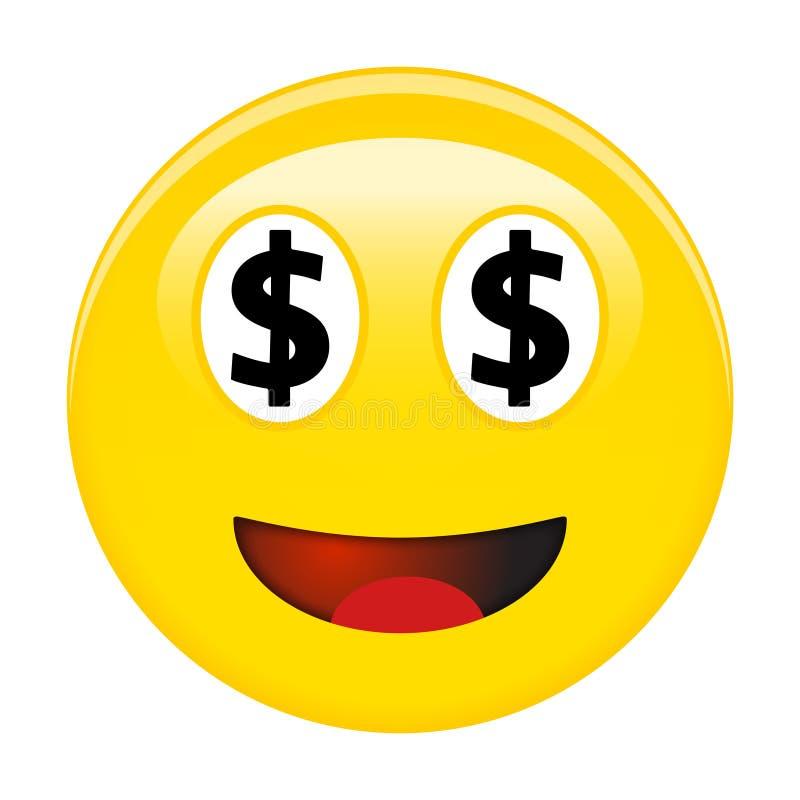Αμερικανικό smiley δολαρίων emoticon Κίτρινο τρισδιάστατο emoji γέλιου με τα μαύρα σύμβολα Δολ ΗΠΑ αντί των ματιών και του κόκκιν διανυσματική απεικόνιση