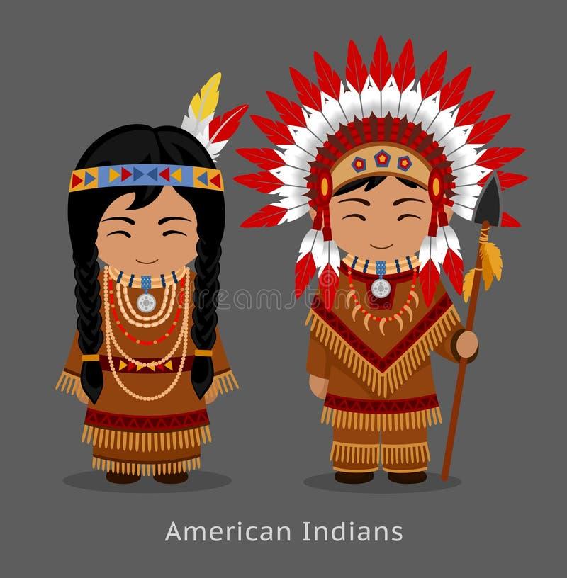 Αμερικανός ιθαγενής Ινδοί στο εθνικό φόρεμα ελεύθερη απεικόνιση δικαιώματος