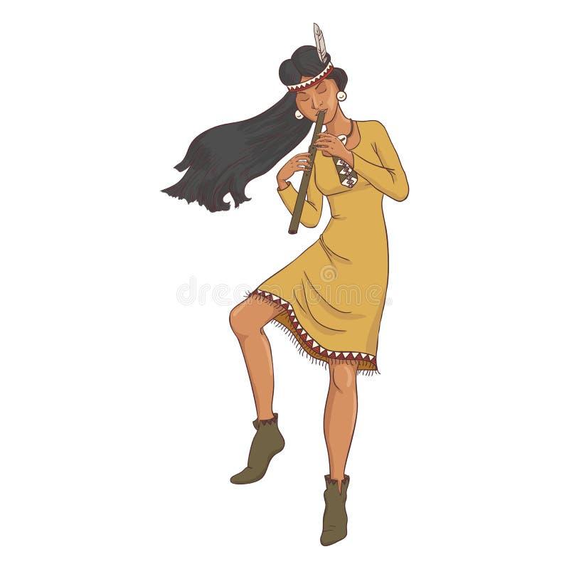 Αμερικανός ιθαγενής, ινδική γυναίκα στο παραδοσιακό κοστούμι με το φλάουτο διανυσματική απεικόνιση