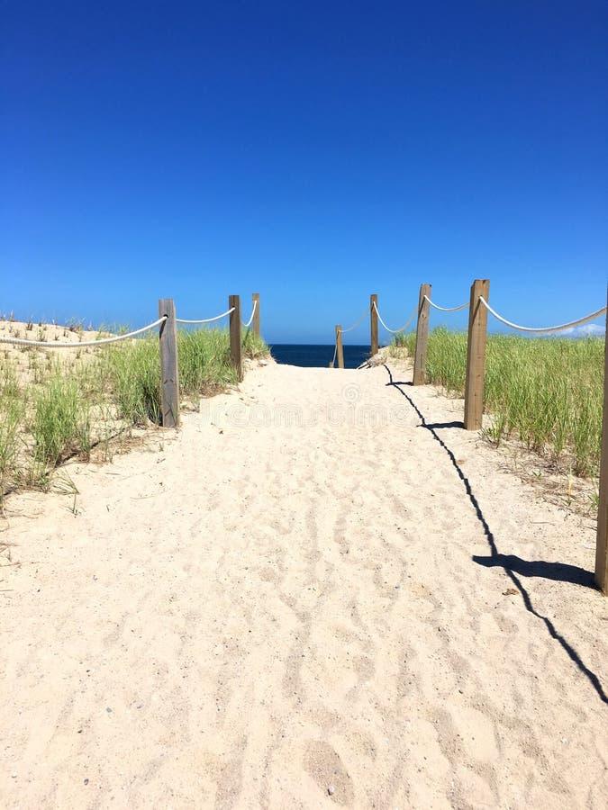 Αμμώδης διάβαση πεζών εισόδων παραλιών - ηλιόλουστη ημέρα με τον ωκεανό στοκ εικόνα