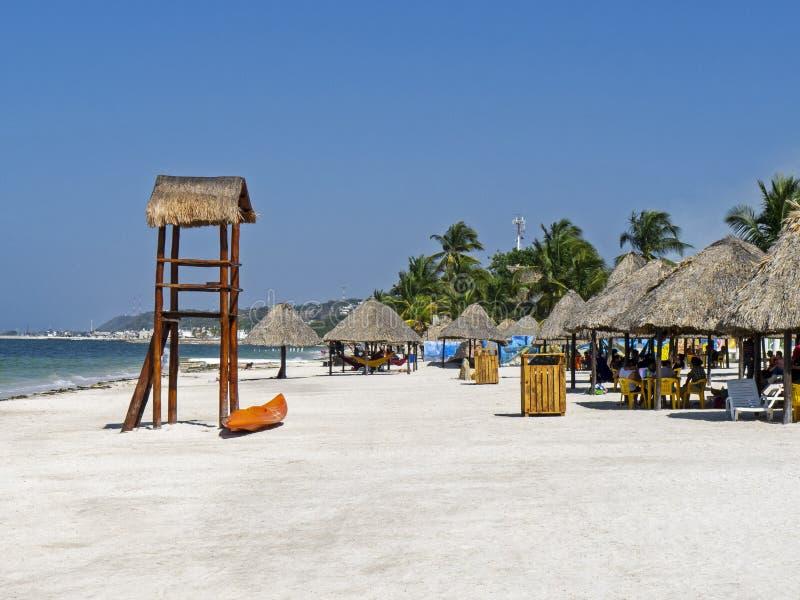 Αμμώδης μεξικάνικη ωκεάνια παραλία στοκ εικόνα