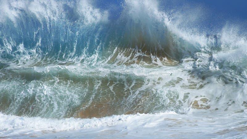 Αμμώδης παραλία, βόμβα παλίνδρομου κύματος της Χαβάης στοκ φωτογραφία