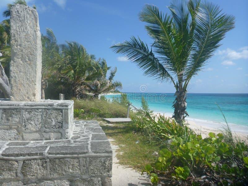 Αμμώδης παραλία HopeTown, Abacos, Μπαχάμες στοκ φωτογραφία με δικαίωμα ελεύθερης χρήσης