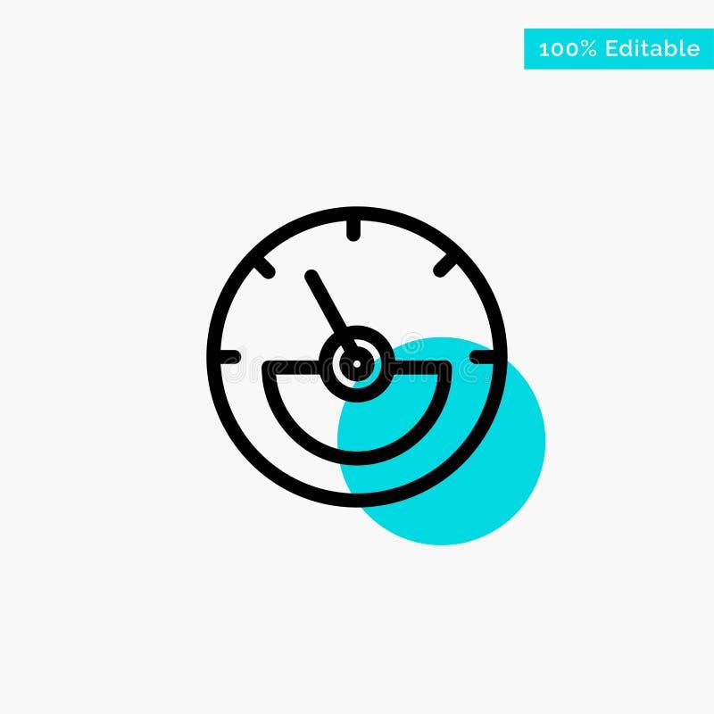 Αμπέρ, μετρητής αμπέρ, ηλεκτρικός, διανυσματικό εικονίδιο σημείου κύκλων ενεργειακού τυρκουάζ κυριώτερου σημείου απεικόνιση αποθεμάτων
