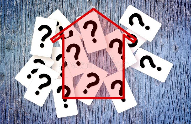 Αμφιβολίες, ερωτήσεις και αβεβαιότητες για τα κτήρια - εικόνα έννοιας στοκ φωτογραφίες