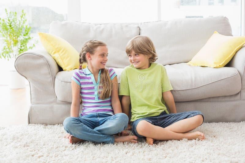 Αμφιθαλείς που εξετάζουν ο ένας τον άλλον καθμένος στο δωμάτιο liviung στοκ εικόνες