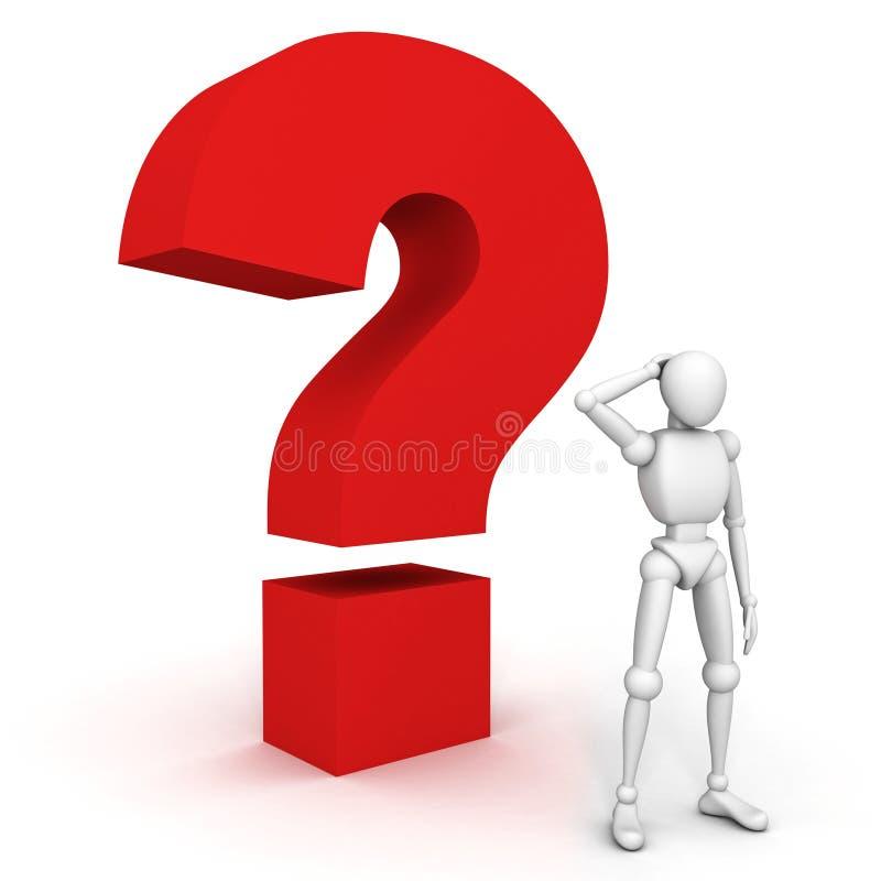 Αμφισβητήσιμο τρισδιάστατο άτομο με ένα κόκκινο ερωτηματικό διανυσματική απεικόνιση
