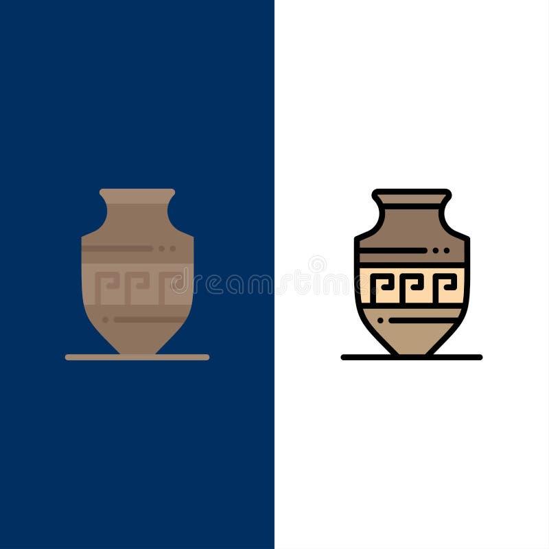 Αμφορέας, αρχαίο βάζο, Ελλάδα, εικονίδια βάζων Επίπεδος και γραμμή γέμισε το καθορισμένο διανυσματικό μπλε υπόβαθρο εικονιδίων ελεύθερη απεικόνιση δικαιώματος